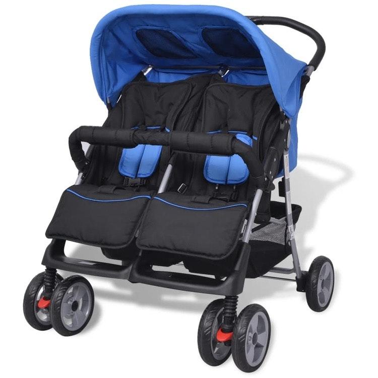 Baby Twin Barnvagn stålblå och svart
