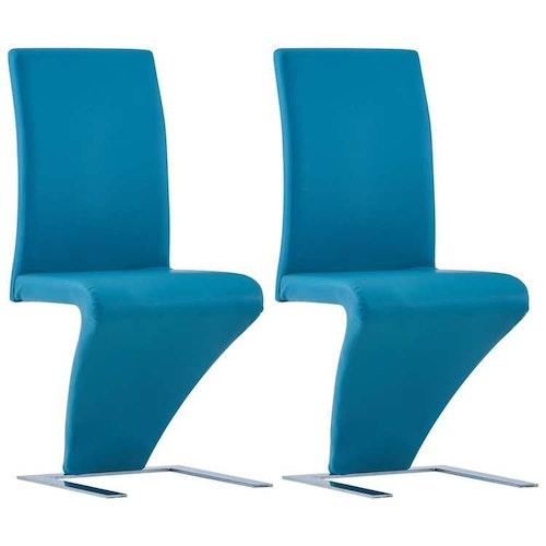Matstolar med Zigzag Shape 2 st Blå Faux Läder