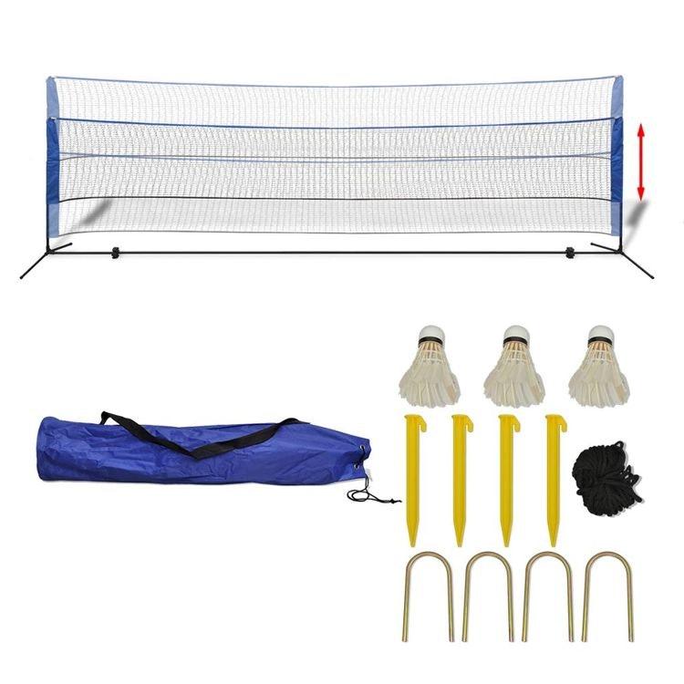 Badminton Net Set med bollar 500x155 cm