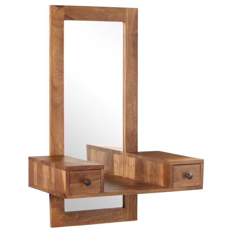 Sminkspegel med 2 lådor massivt sheshamträ
