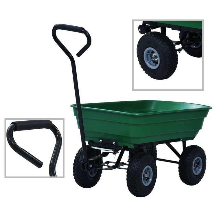 Trädgårdsvagn tippbar 300 kg 75L grön