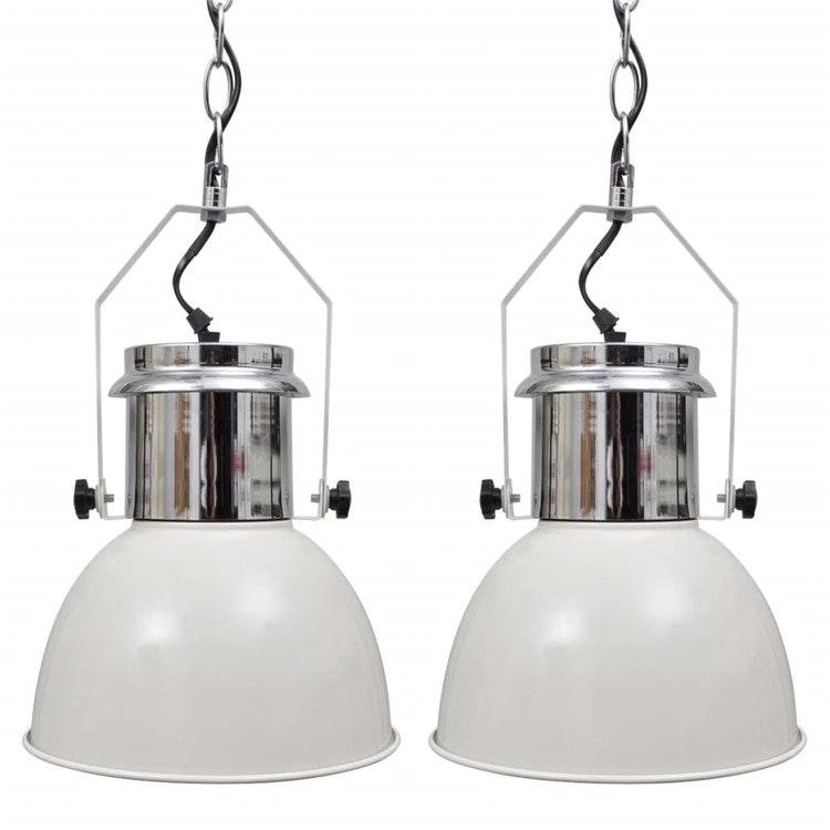 Taklampa i metall 2 st höjdjusterbar modern vit