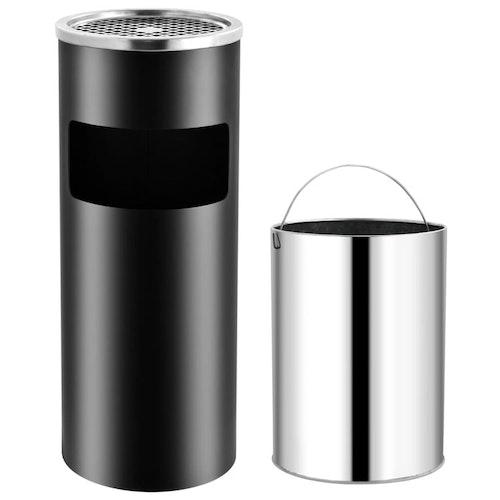 Askfat/soptunna 30 L stål svart, grå eller silver