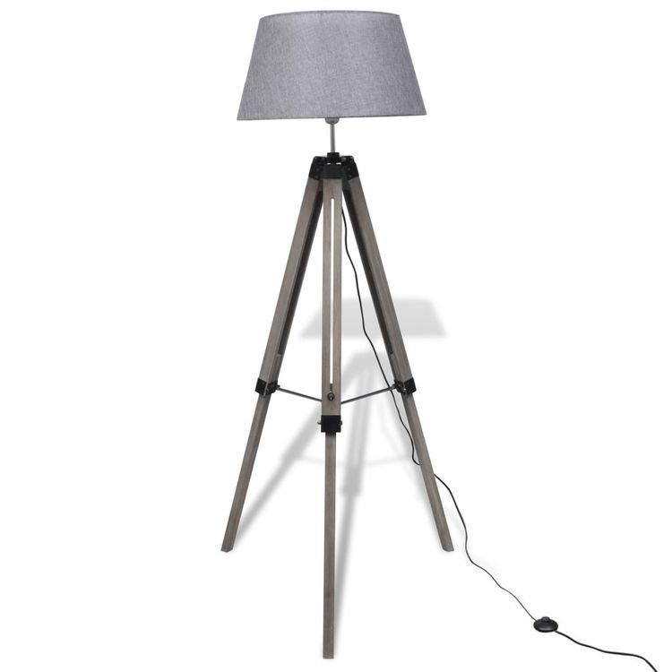 Golvlampa med tygskärm på justerbart trästativ Grå el Svart