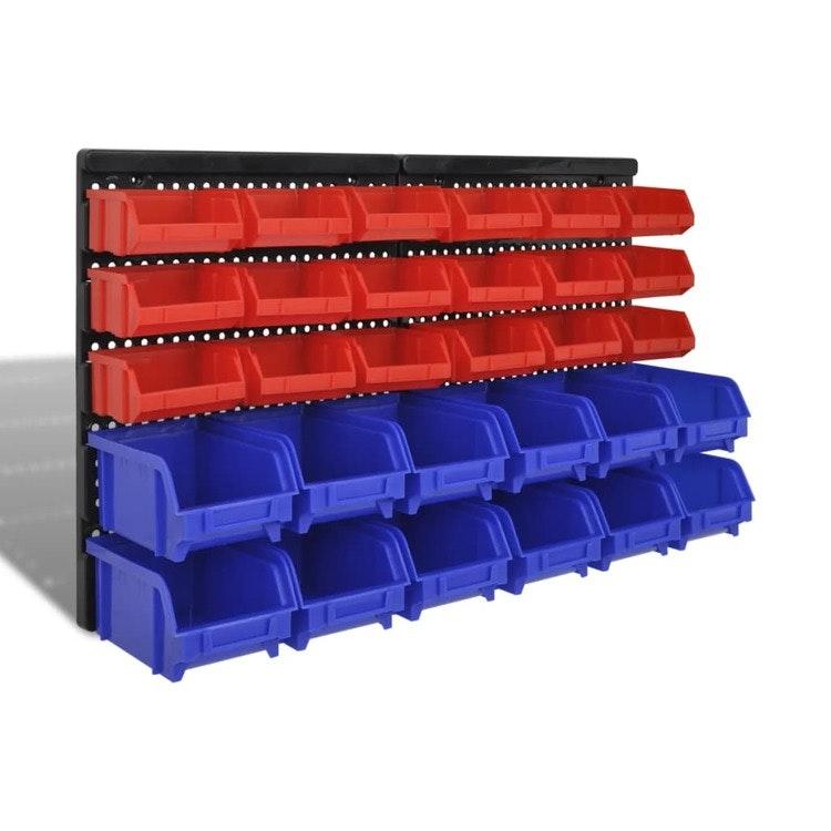 Väggmonterad Garage Plastförvaringssats 30 st Blå & Röd
