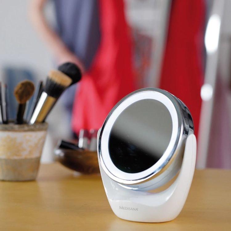 2-i-1 Sminkspegel 12 cm vit med 5 ggr förstoring