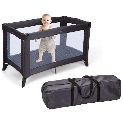 Baby resesäng hopfällbar med madrass mörkgrå