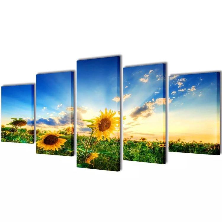 Solros väggbonader på duk: 100 x 50 cm eller 200 x 100 cm