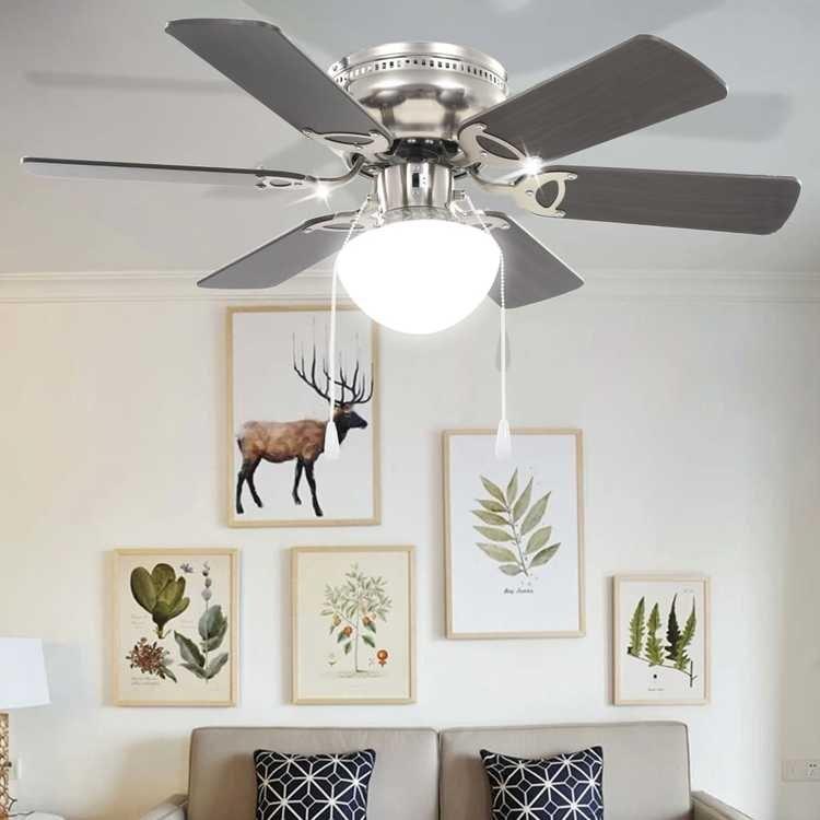 Dekorativ takfläkt med lampa 82 cm Mörkbrun