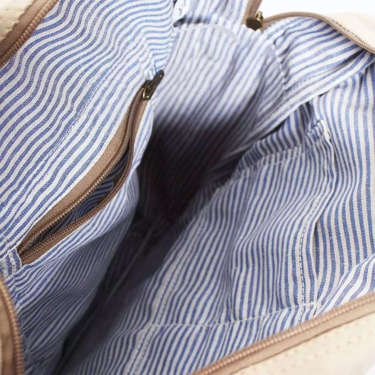 Ryggsäck i Kanvastyg och äkta läder Beige