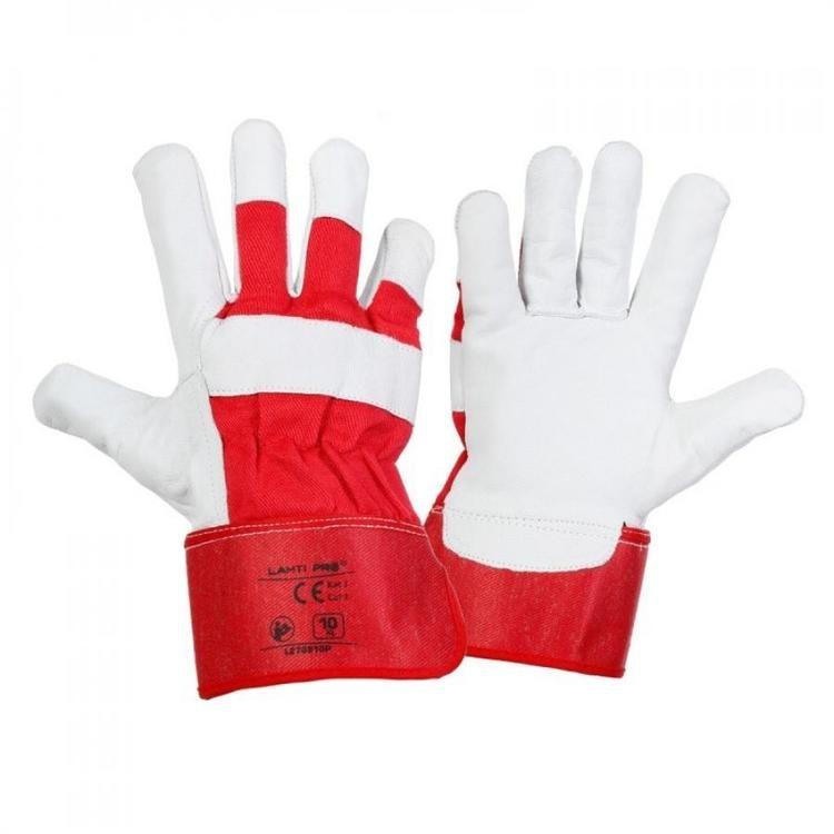 10 st Handskar, äkta getskinn, bomull, stl.10, röd-vita, CE