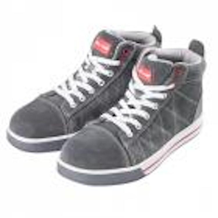Skor, tåliga och bekväma, grå-röd färg, SB SRA, CE, LAHTI