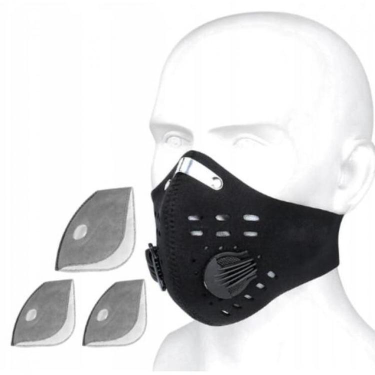 Andningsskydd/Mask 1st, inkl. 1st N95 FFP2 filter, 2 ventiler, neopren, bekväm och tät, CE