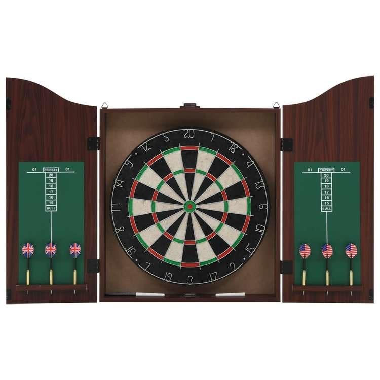 Professional Dart Set med darttavla och skåp Sisal Steel