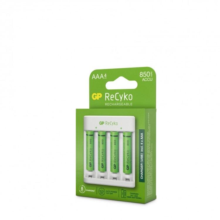 GP ReCyko Standard-batteriladdare E411, inkl. 4st AAA 850mAh NiMH-batterier