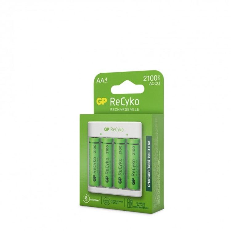GP ReCyko Standard-batteriladdare E411, inkl. 4st AA 2100mAh NiMH-batterier