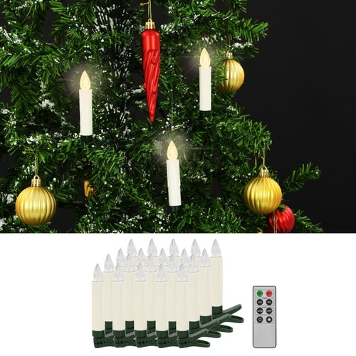 Trådlösa LED-ljus med fjärrkontroll 20 st varmvita