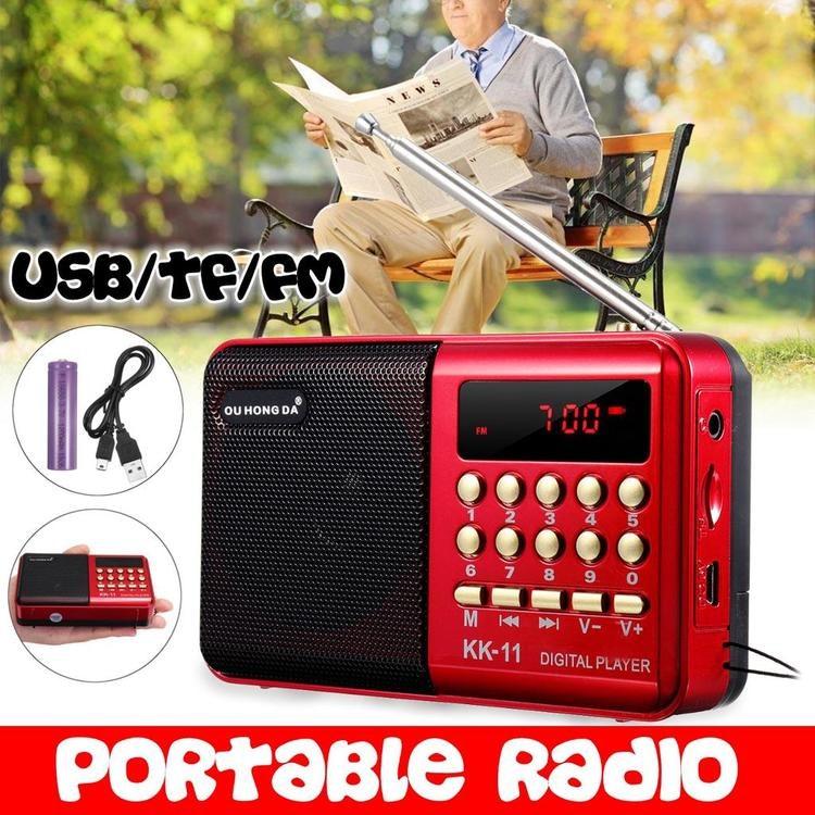 Pocket Mini FM Teleskopisk antenn Radiovärldsmottagare, MP3-musikspelare, uppladdningsbart batteri