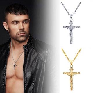 Halsband i rostfritt stål ( Guld ) Jesus Cross