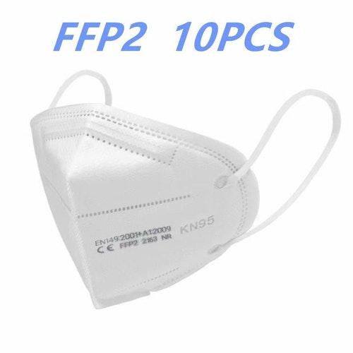 Munskydd 10-pack som är N95 (FFP2 klassade) och CE-märkta