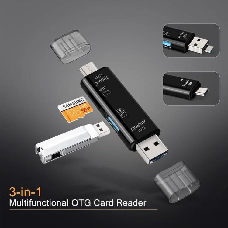 5 i 1 multifunktionell USB 3.0 typ C / USB / Micro USB / Tf-minneskortläsare OTG-kortläsar adapter