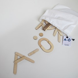 The alphabet - 79 wooden magnetic parts