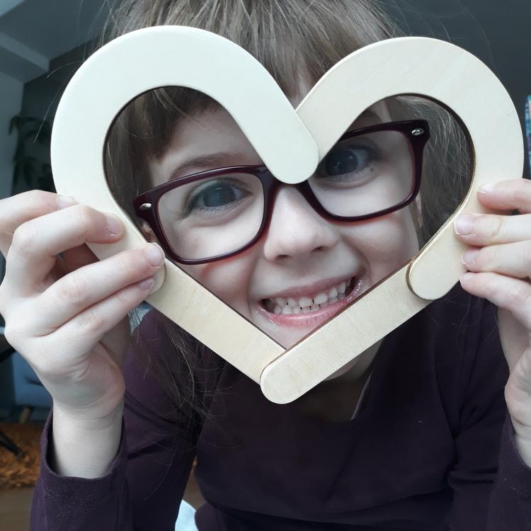 Hjärta - magnetisk träbyggsats i 4 delar