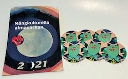 Paketpris: Mångkulturella almanackan 2021 och Glasunderlägg av Saadia Hussain