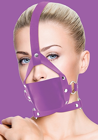 Leather Mouth Gag - Purple