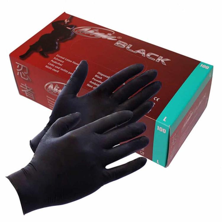 Latex Handskar Svarta 100 pack