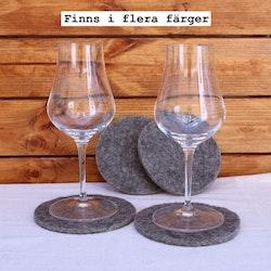 Glasunderlägg av svensk filtad ull (4 st)