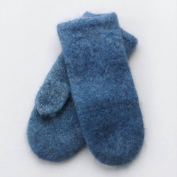 Handstickade ullvantar - Jeansblå