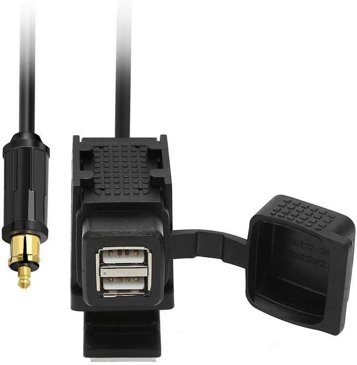 Usb-uttag för mc, 2 x USB fastcharge, DIN, BMW, Ducati, Triumph