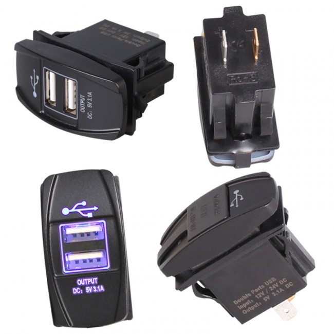 USB-laddare för MC, Premium, IP68, Fastchargex2