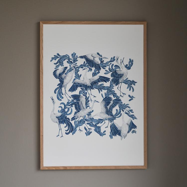 Poster 50x70cm Dancing crane blå