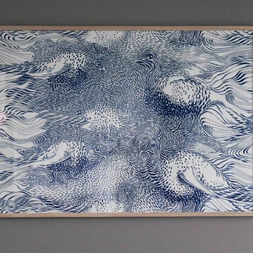 Poster 100x70cm Stäpphöna blå