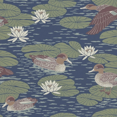 Tapetprov Duck Pond Deep blue