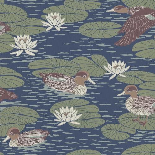 Tapetprov Duck Pond Deep blue