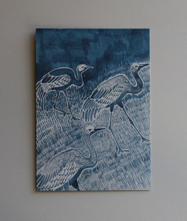 A5 konstkort Cranes
