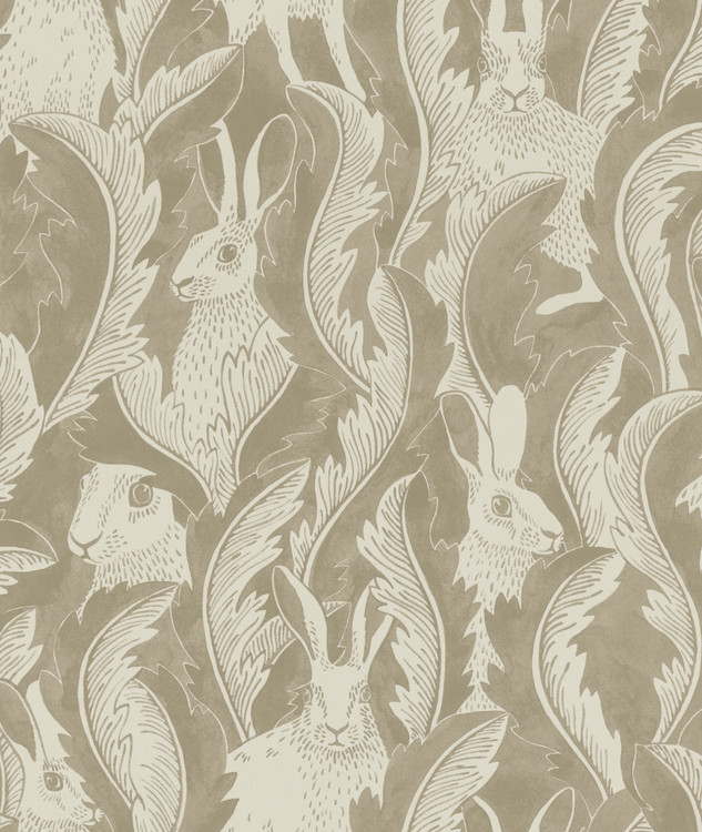 Tapetprov Hares in hiding Taupe