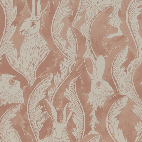 Tapetprov Hares in hiding Dusty Pink
