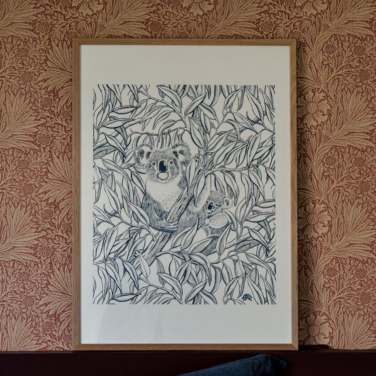 Poster 50x70cm A koala tribute blå