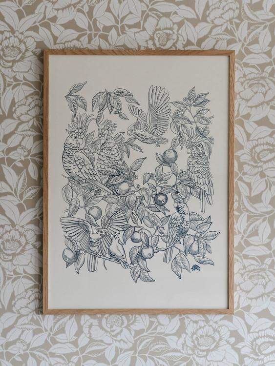 Poster 50x70cm Talk about cockatoos blå