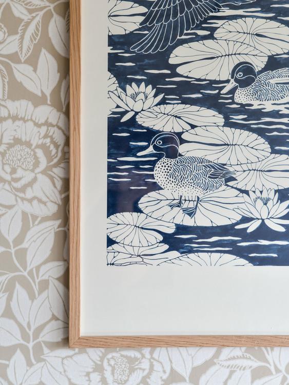 Poster 50x70cm Duck pond blå