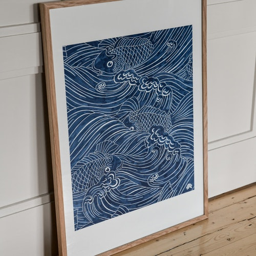Poster 50x70cm Plenty more fish blå