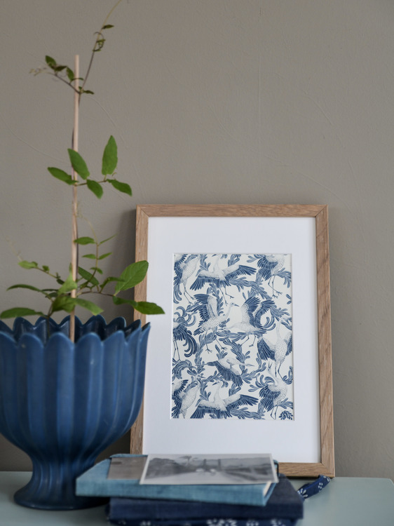 A5 konstkort Dancing crane blå