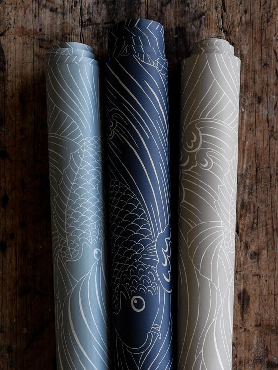 Tapet Plenty more fish Ink blue