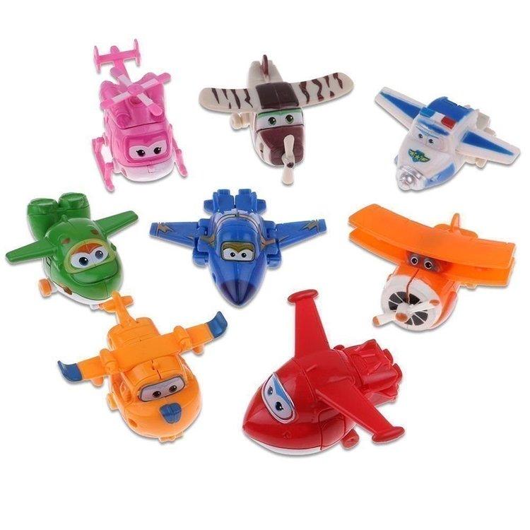 8 st Mästerflygarna Super Wings Transformera Mini Figurer Leksak