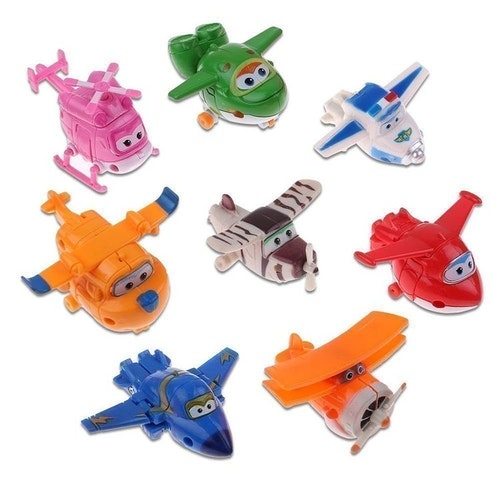 8 st Mästerflygarna Super Wings Transformera Mini Figurer Leksak