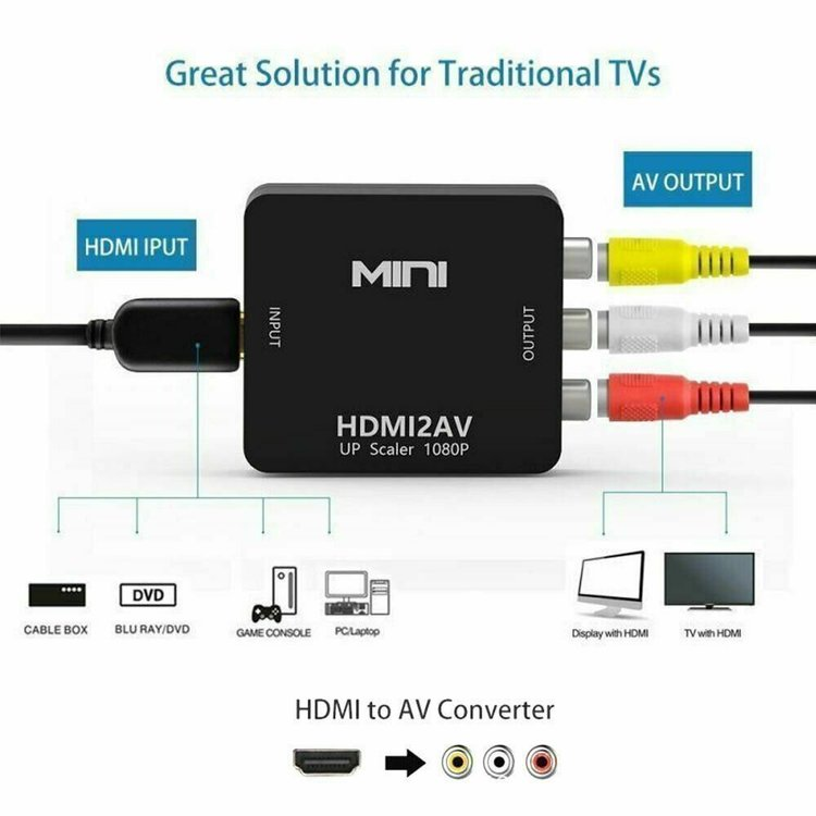 HDMI till to RCA Audio Video AV CVBS Adapter Converter Omvandlare